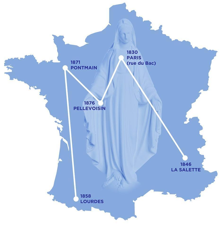 carte apparitions mariales france LA MÉDAILLE MIRACULEUSE ET LE PAYS DE FRANCE   Association de la