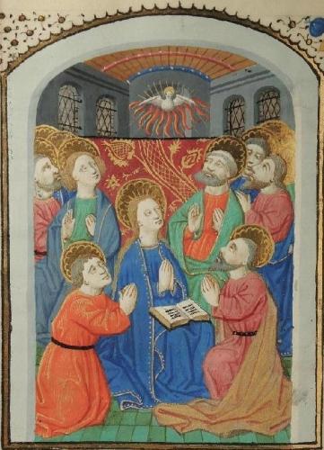 La prière de Marie au Cénacle. Maitre de l'Échevinage de Rouen, miniature de la Pentecôte, Heures à l'usage du Mans de Jehan de Chahanay, manuscrit sur vélin, feuillet 24, 1460-1465, collection particulière.