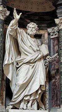 Saint Pierre avec les clefs du salut des âmes et du Paradis, par Pierre-Étienne Monnot, archibasilique Saint-Jean-de-Latran de Rome