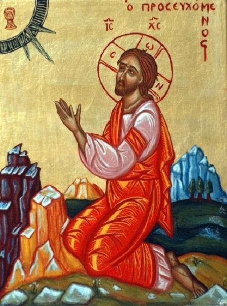 Christ agonisant au jardin de Gethsémani - icône byzantine contemporaine de Grèce