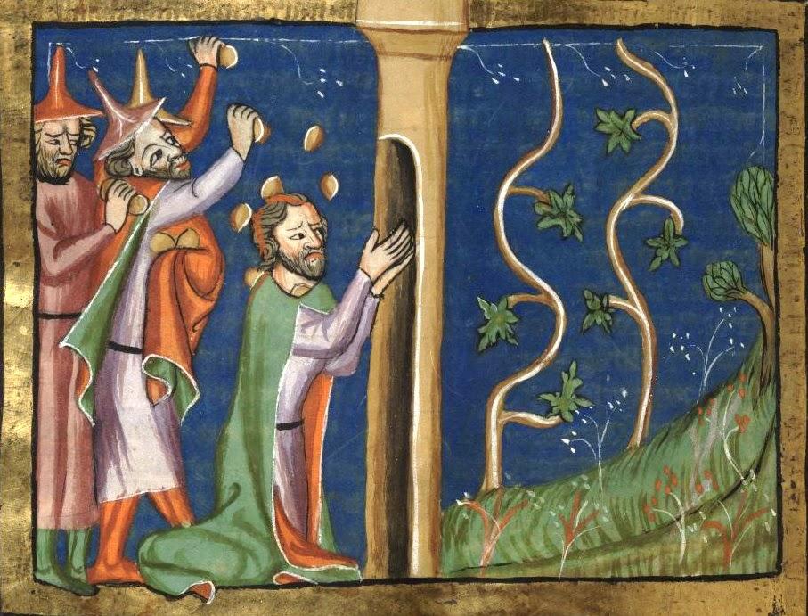 Naboth lapidé devant sa vigne - Chronique universelle de Rodolphe d'Ems Artiste anonyme (entre 1350 et 1375)