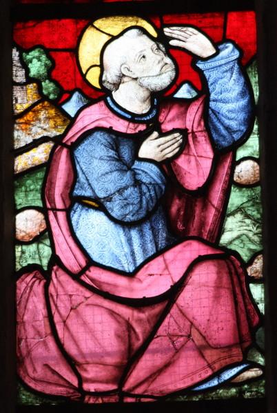 Transfiguration détail vitrail Saint Pierre Plogonnec Bretagne