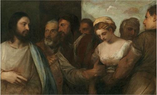 Jésus et la femme adultère Tiziano Vecelli 1520 - Musée d'histoire de l'art de Vienne Autriche
