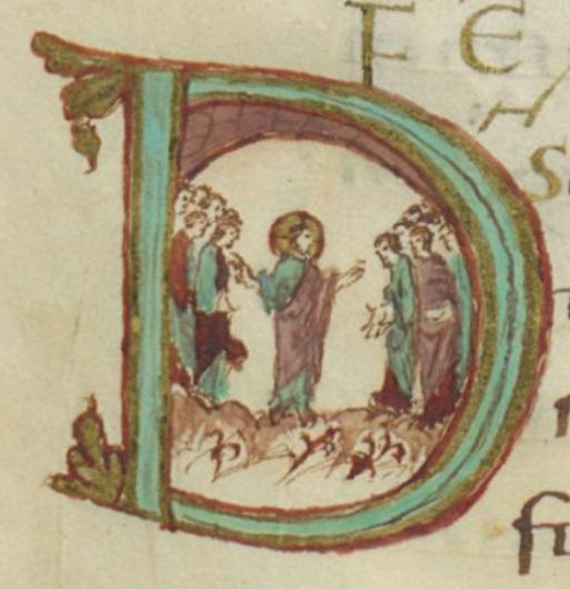 Jésus enseigne 9e siècle enluminure du Sacramentaire de Drogon