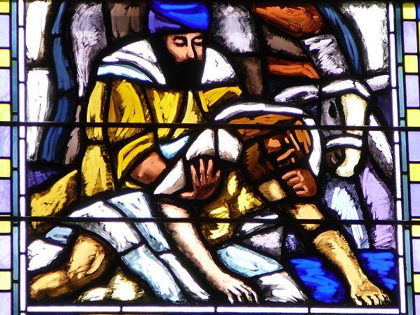 Le bon samaritain - baie n VI - ( 1938 ) - église Saint Joseph - Genève Suisse
