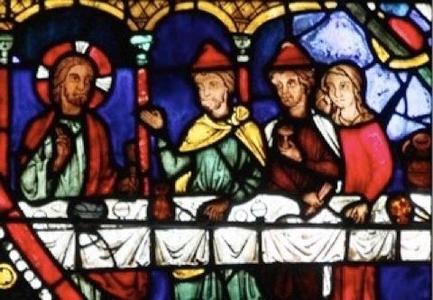 vitrail de Chartres sur un repas de Jésus chez un pharisien