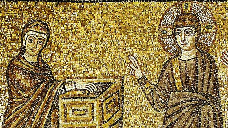 l'obole de la pauvre veuve - mosaïque ancienne