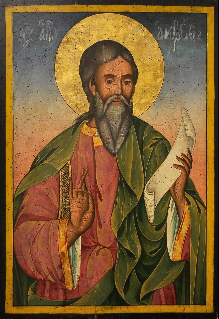 Saint André Apôtre juif de Galilée frère de saint Pierre et le premier des apôtres à connaître Jésus Christ aussitôt après son baptême sur les bords du Jourdain – icône bulgare