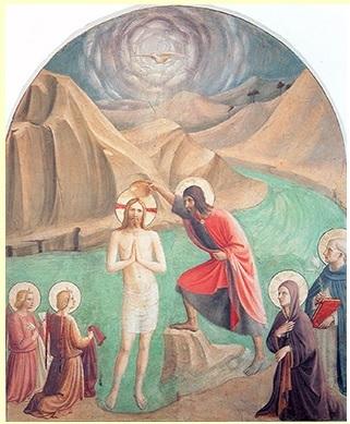 Fra Angelico, Guido di Pietro, dit (1395-1455) entre 1441 et 1442. Le Baptême du Christ
