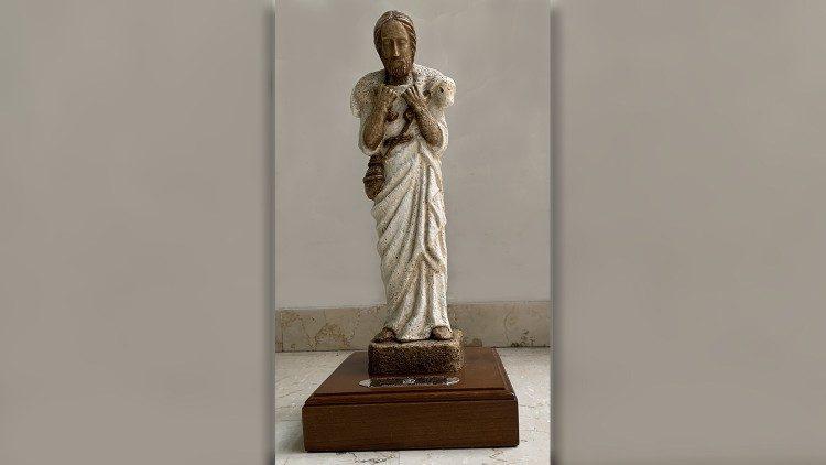 Le Bon Pasteur - copie du Musée Pio Cristiano du Vatican offerte par le Pape François