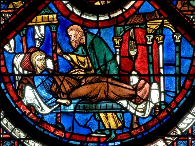 Le Bon Samaritain soigne à l'auberge l'homme blessé - cathédrale de Chartres