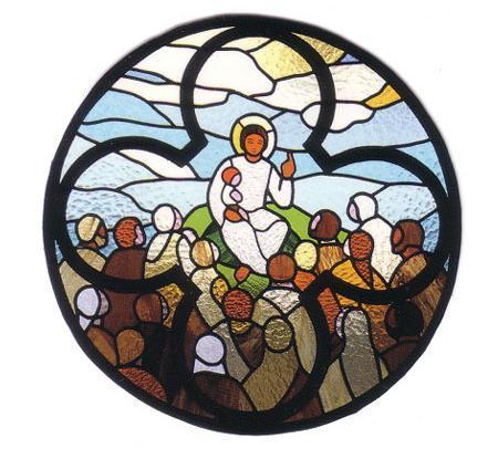 Les Béatitudes -Évangile de Luc - vitrail de l'église de Senzoku au Japon, réalisé par Gilles Caron en 1985.