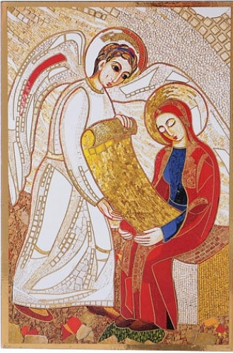 Marko Ivan Rupnik, L'annonciation, Mosaïque de la Chapelle de la Nonciature Apostolique à Paris 2003