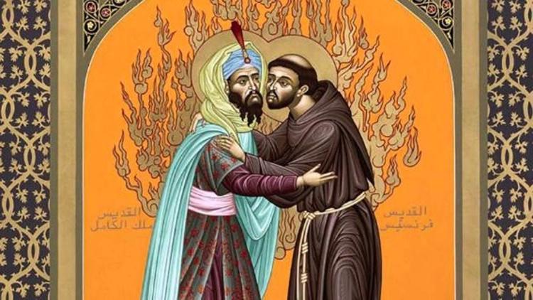 Rencontre de St François d'Assise et du Sultan Al-Kamil, en 1219.