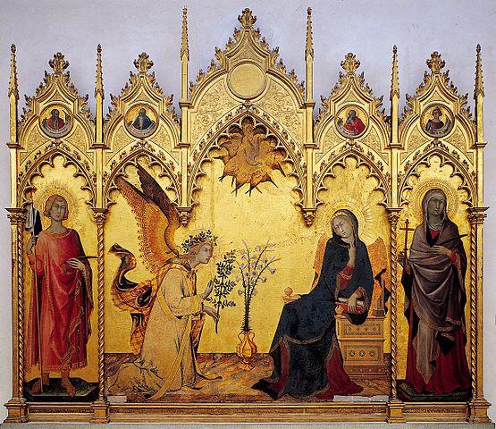 Simone Martini (1284–1344) Annonciation et deux saints 1333 musée des Offices Florence