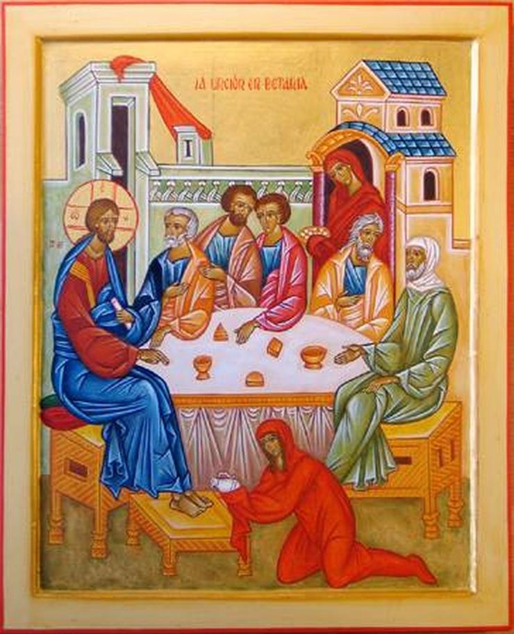 Marie de Béthanie parfume les pieds de Jésus -iconographie byzantine au musée de Roca