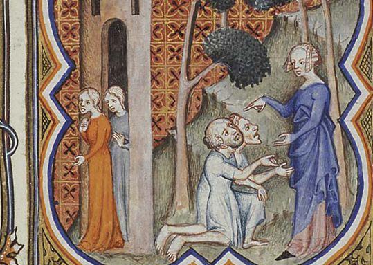 Suzanne et les deux vielllards - 1372 enluminure - Petrus Comestor, Bible historiale, Meermanno Koninklijke Bibliotheek, La Haye