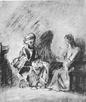 Jésus et Nicodème -dessin de Rembrandt