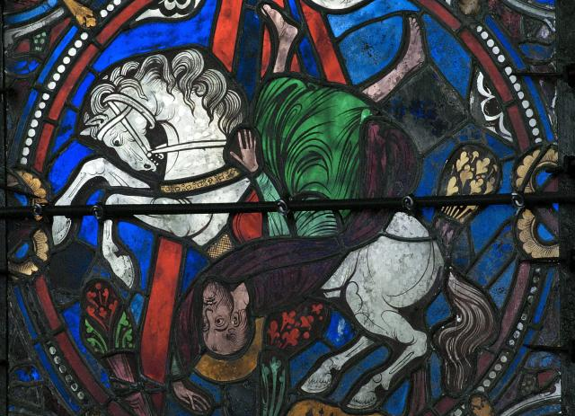 Saint Paul sur le chemin de Damas – vitrail cathédrale de Chartres