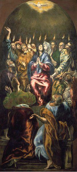 Pentecôte du Gréco - vers 1600, Huile sur toile, Madrid, Musée dru Prado.