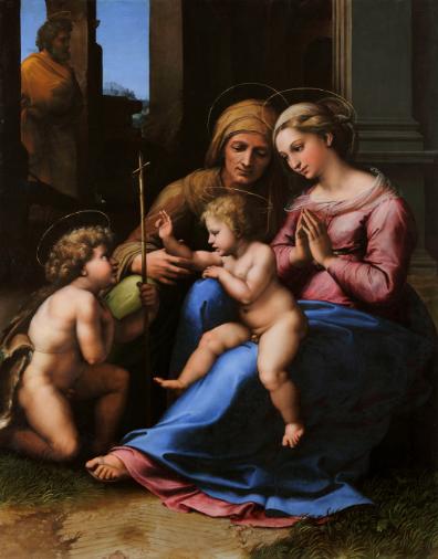 Raphaël, La Madone de l'amour divin, Pinacothèque, Agnelli, Turin, Capodimonte, Naples, Jésus, Vierge, saint Jean-Baptiste, sainte Elisabeth