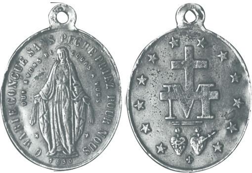 Première Médaille Miraculeuse, créée par la société Vachette en 1832, selon le vœu de la Vierge Marie