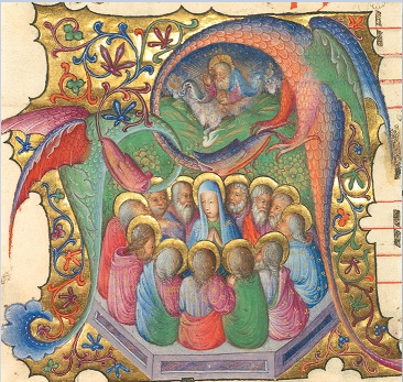 miniature Pentecôte attribuée à Stefano da Verona