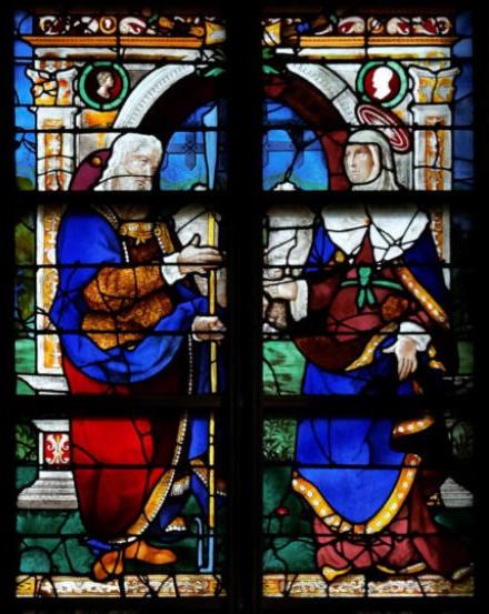 Joachim et Anne - verrière de sainte Anne - église sainte Jeanne d'Arc à Rouen 76