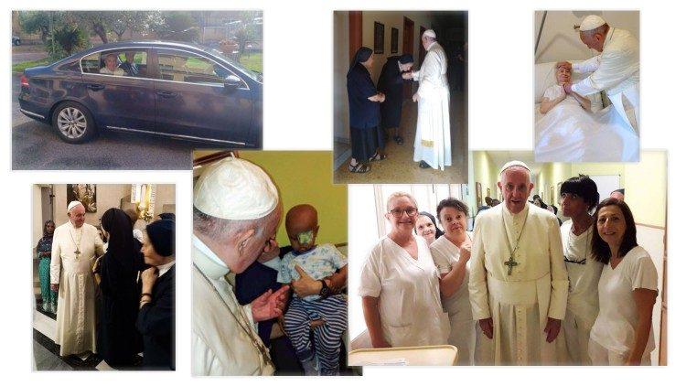 Le Pape en visite privée chez les Filles de la Charité à la Casa Regina Mundi à Rome le 28 juillet 2019