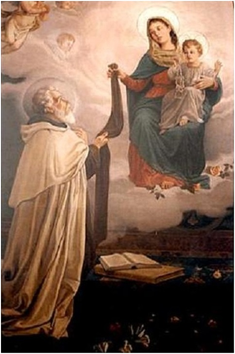 Marie et Jésus confiant le Saint Scapulaire du Mont Carmel à Saint Simon Stock
