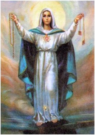 Notre Dame avec le chapelet et le scapulaire du Mont Carmel
