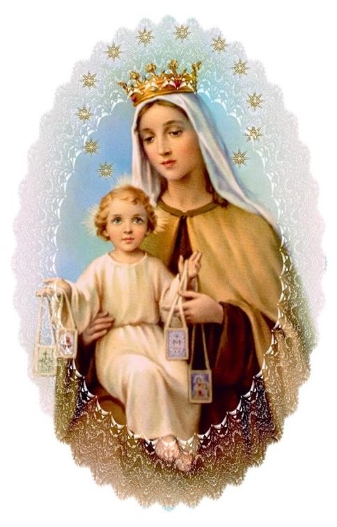 Notre Dame du Mont Carmel et Jésus son enfant portant le scapulaire dans ses deux mains