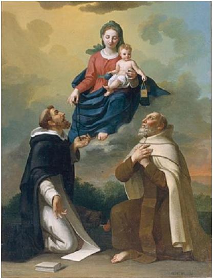 Notre Dame remettant le chapelet à saint Dominique et le saint scapulaire à saint Simon de Stock