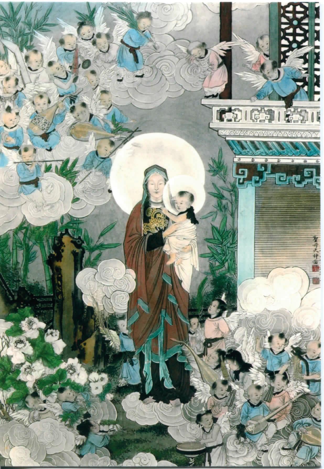 Vierge à l'Enfant et anges musiciens, Vers 1920 - Chine - Jérôme Mondière D.R.