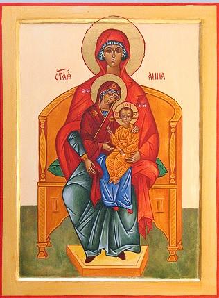 icône de sainte Anne Marie et Jésus