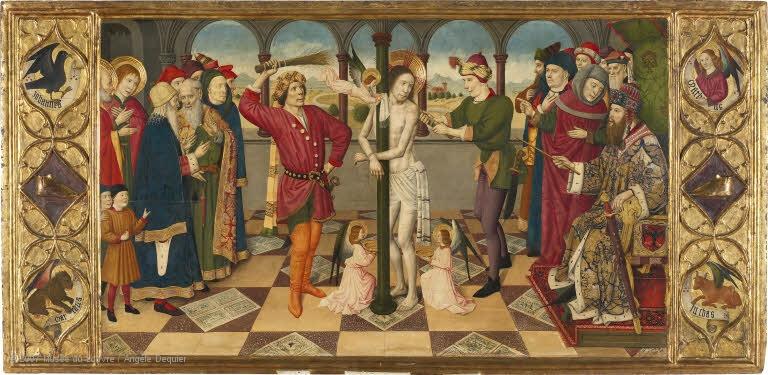 Louvre - flagellation - Jaume Huguet - peinture sur bois du XVème siècle