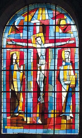 Crucifixion, Paul Bony - Vitrail de l'église Saint-Jacques à Chatellerault (1957-58), D.R.