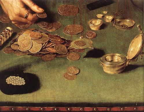 Le prêteur d'argent et sa femme - motif d'un tableau de Quentin Matsys 1514 Louvre