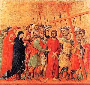 simon de Cyrène aide à porter la croix - Duccio di Buoninsegna fin XIIIe siècle