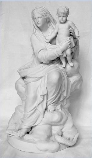 Vierge à l'Enfant terrassant le serpent - biscuit de Boizot fin XVIIIe siècle
