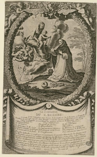 Sainte Vierge - Rosaire, Paris, Couvent des Jacobins - estampe de Jean Lepautre graveur (+1682)