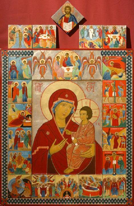 Notre-Dame du Rosaire entourée des quatre groupes de mystères