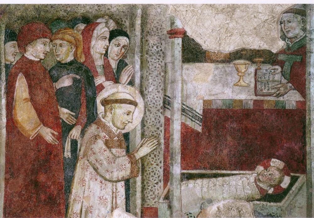 Détail d'une fresque représentant saint François adorant l'Enfant Jésus à la première crèche de Noël (Greccio)