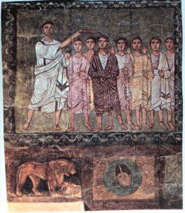 Onction de David par Samuel, fresque sur bois, Synagogue de Doura Europos, IIe siècle