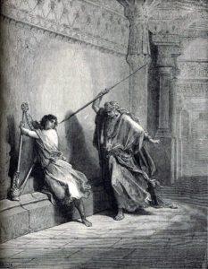 Saül jaloux de David et voulant le tuer - Gustave Doré