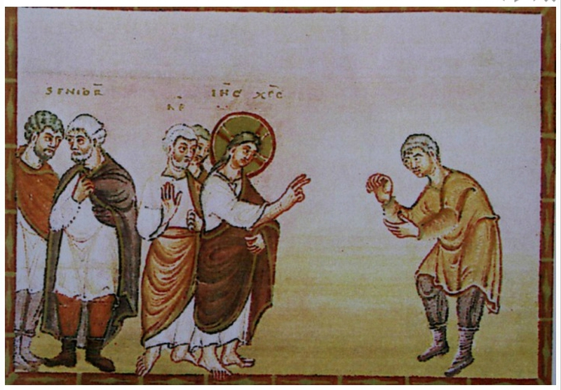 guérison du lépreux Mc 1, 40-45 - enluminure d'Egbert (Codex Egberti, Trier ms 24)