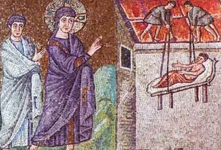 guérison du paralytique par Jésus - mosaïque de Ravenne