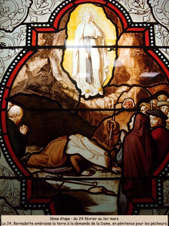 Bernadette embrasse la terre à la demande de la Dame