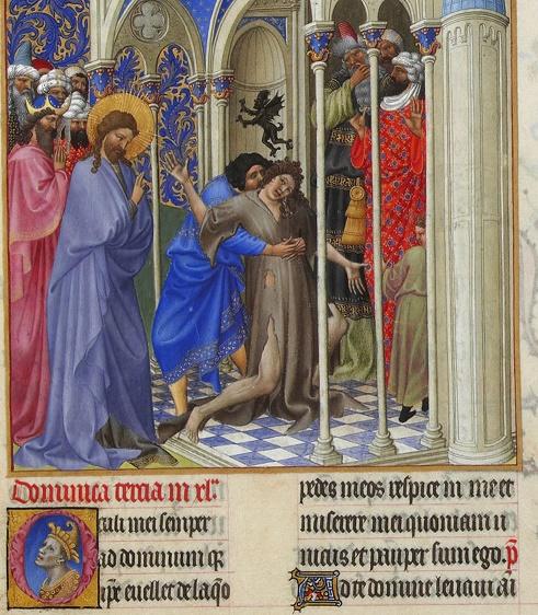 Jésus exorcise le diabolisé (Miniature des très riches heures du duc de Berry). Musée Condé, Chantilly, France.