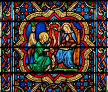 Annonciation détail de vitrail Notre-Dame de Paris